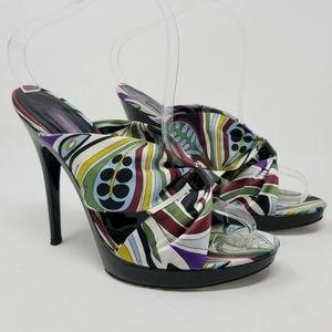 Emilio Pucci Print silk Fabric Upper Heels